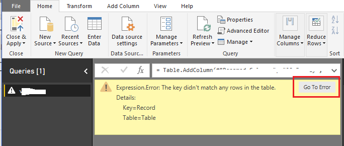 Power BI: The key didn't match any rows in the table | System Management
